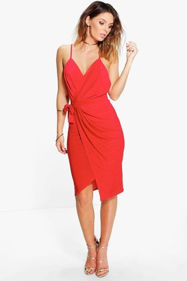 boohoo Wrap Over Exposed Side Detail Slinky Midi Dress