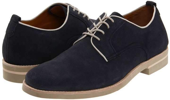 Johnston & Murphy Dolby Plain Toe Lace-Up (Navy Suede) - Footwear
