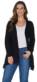 Halston H by Long Sleeve Handkerchief Hem OpenFront Cardigan