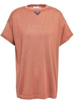 Brunello Cucinelli Bead-embellished Cashmere And Silk-blend T-shirt