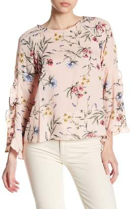 Very J Ruffle Long Sleeve Floral Print Top