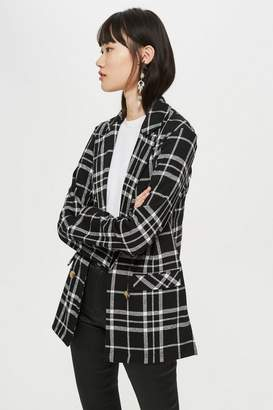 Topshop Check Jersey Double Breasted Blazer