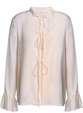 17149424fa0eee See by Chloe Bow-detailed Silk Crepe De Chine Blouse