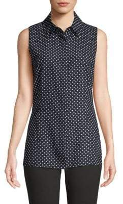 St. John Dot-Print Sleeveless Button-Down Shirt