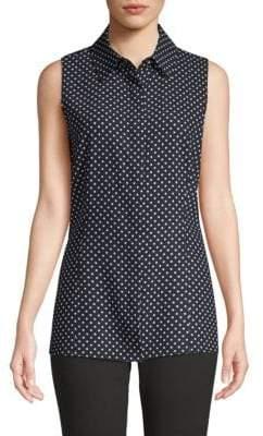 St. John Dot-Print Sleeveless Button-Down Shirt