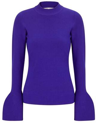 Diane von Furstenberg Cobalt Flared-cuff Stretch-knit Jumper