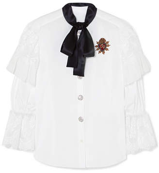 Dolce & Gabbana Appliquéd Lace-trimmed Cotton-blend Poplin Blouse - White