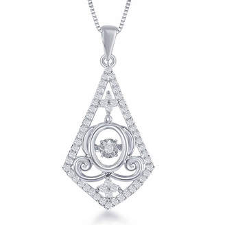 ENCHANTED FINE JEWELRY BY DISNEY Enchanted Disney Fine Jewelry 1/4 C.T. T.W. Sterling Silver Cinderella Carriage Drop Pendant Necklace