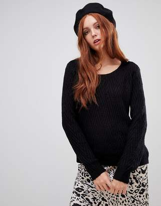 Vero Moda Round Neck Sweater With Curved Hem