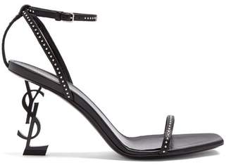 Saint Laurent Opyum Logo Heel Patent Leather Sandals - Womens - Black