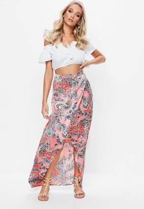 Missguided Pink Paisley Print Split Maxi Skirt