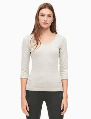 Calvin Klein pima cotton stretch v-neck 3/4 sleeve t-shirt