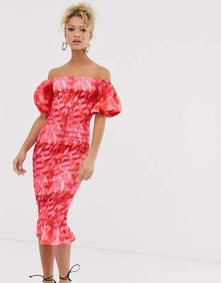 Never Fully Dressed off shoulder blouson sleeve shirred midi dress in pink abstract print
