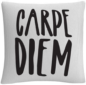 "Trademark Global Stripes Typographic Modern Carpe Diem 16x16"" Decorative Throw Pillow by Abc"