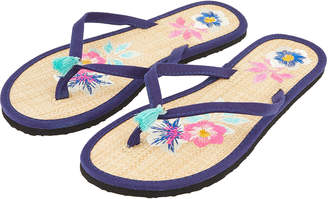 79687b2a8 Accessorize Embroidered Flower Seagrass Flip Flops