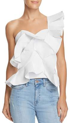 Alpha and Omega One-Shoulder Ruffled Cropped Top
