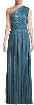 Elie Tahari Mistry Pleated One-Shoulder Dress