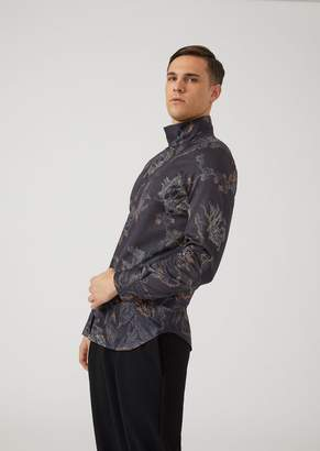 Emporio Armani Shirt With Overlapping Tips And Floral Pattern