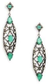 Emerald, Champagne Diamond and Sterling Silver Drop Earrings