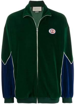 Gucci zip front logo jacket