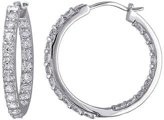 FINE JEWELRY Lab-Created White Sapphire Sterling Silver Inside-Out Hoop Earrings