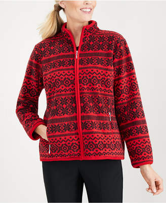 Karen Scott Printed Fleece Jacket
