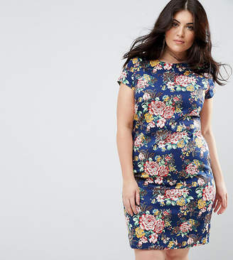 Yumi Plus Floral Pencil Dress With Ruched Side
