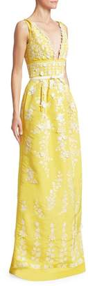 Oscar de la Renta Floral-Embroidered V-Neck Column Gown