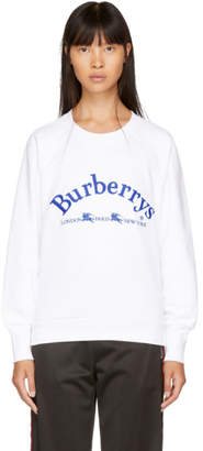 Burberry White Embroidered Logo Sweatshirt