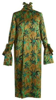 Marni Long Sleeved Herbage Print Midi Dress - Womens - Green Print