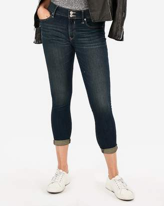 Express Mid Rise Dark Wash Stretch+ Performance Cropped Jean Leggings