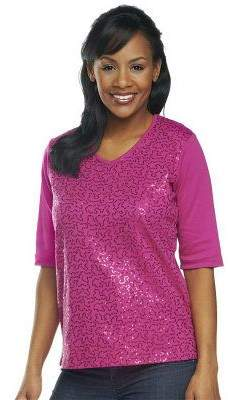 Factory Quacker Sequin Front Elbow Sleeve V-neck T-shirt
