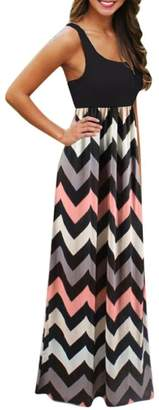 Beautyfine Sundrss Maxi Dress Womens Striped Long Boho Dress Lady Beach Summer