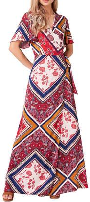 Girls On Film Printed Maxi Wrap Dress