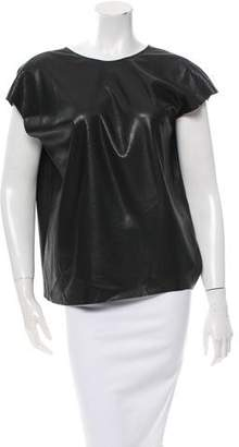 Lanvin Embossed Faux Leather Top w/ Tags