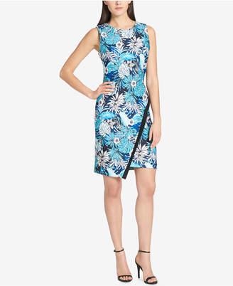 Tommy Hilfiger Floral-Printed Asymmetrical-Hem Sheath Dress