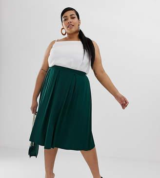 Asos DESIGN Curve midi skirt with box pleats