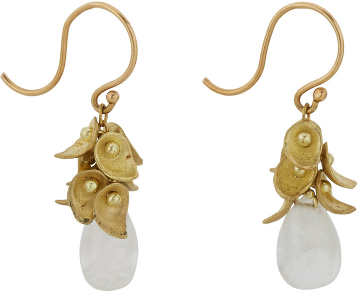 Ten Thousand Things Pale Moonstone & Gold Paisley Cluster Drop Earrings