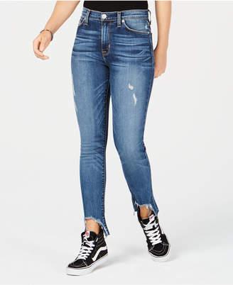 Hudson Barbara Asymmetrical-Hem Skinny Jeans