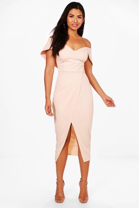 boohoo Off Shoulder Wrap Skirt Midi Dress