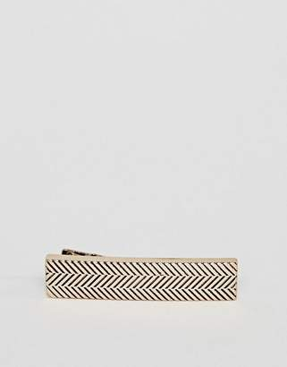 ICON BRAND antique gold tie bar with chevron detail
