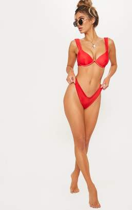 PrettyLittleThing Red Tie Back Cupped Bikini Top