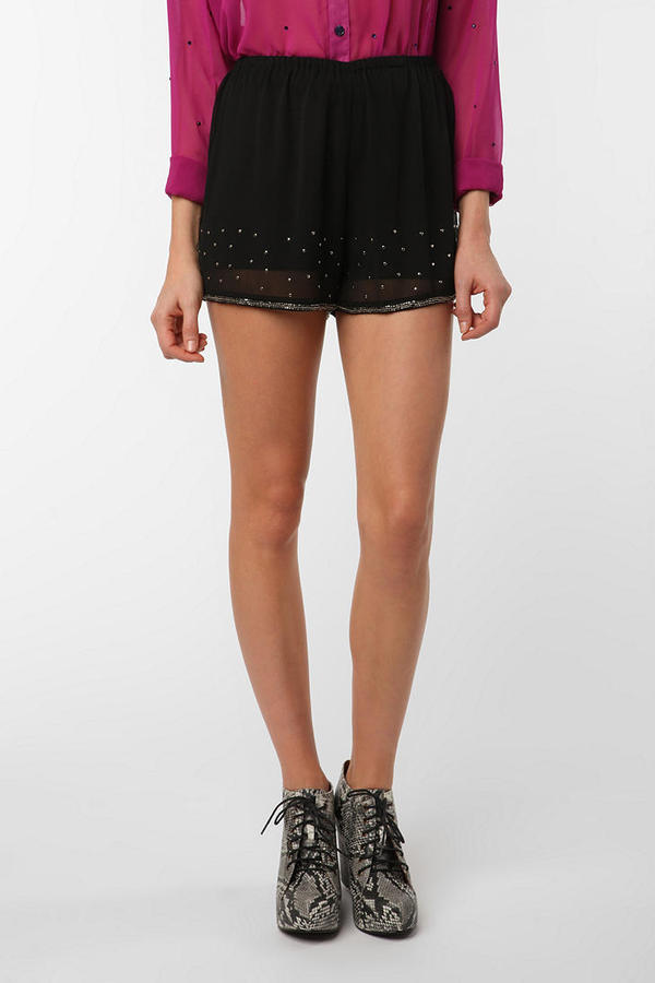 Pins and Needles Sheer Embellished Short