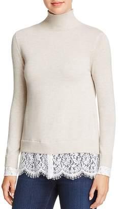 Joie Fredrika Lace-Trimmed Mock-Neck Sweater