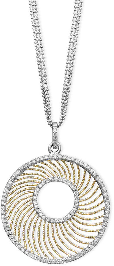 B. Brilliant 18k Gold over Sterling Silver and Sterling Silver Necklace, Cubic Zirconia Donut Necklace (4 ct. t.w.)