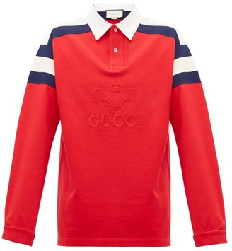 Gucci Long Sleeved Cotton Polo Shirt - Mens - Red