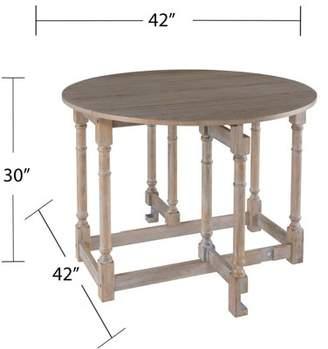 SAM. Southern Enterprises Drop-Leaf Dining Table, Farmhouse, Burnt Oak