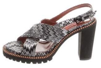 Missoni Geometrical Print Crossover Sandals Grey Geometrical Print Crossover Sandals