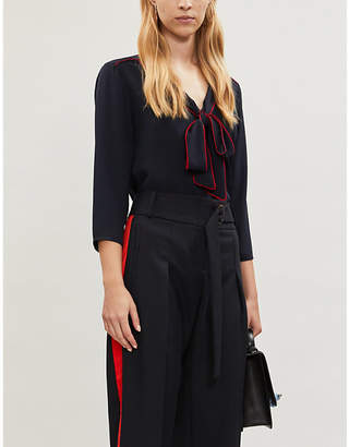 Claudie Pierlot V-neck relaxed-fit crepe blouse