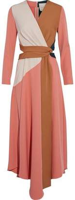 Roksanda Gabriela Wrap-Effect Cutout Color-Block Cady Midi Dress